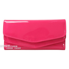 Free ship! 2012 women's japanned leather long design wallet candy color female bags girls clutch bag card holder