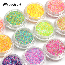 ELESSICAL 12bottles/set Holographic Colored Nail Glitters Sparkly Pigments Nail Art Decorations Acrylic Powder For Nails WY935
