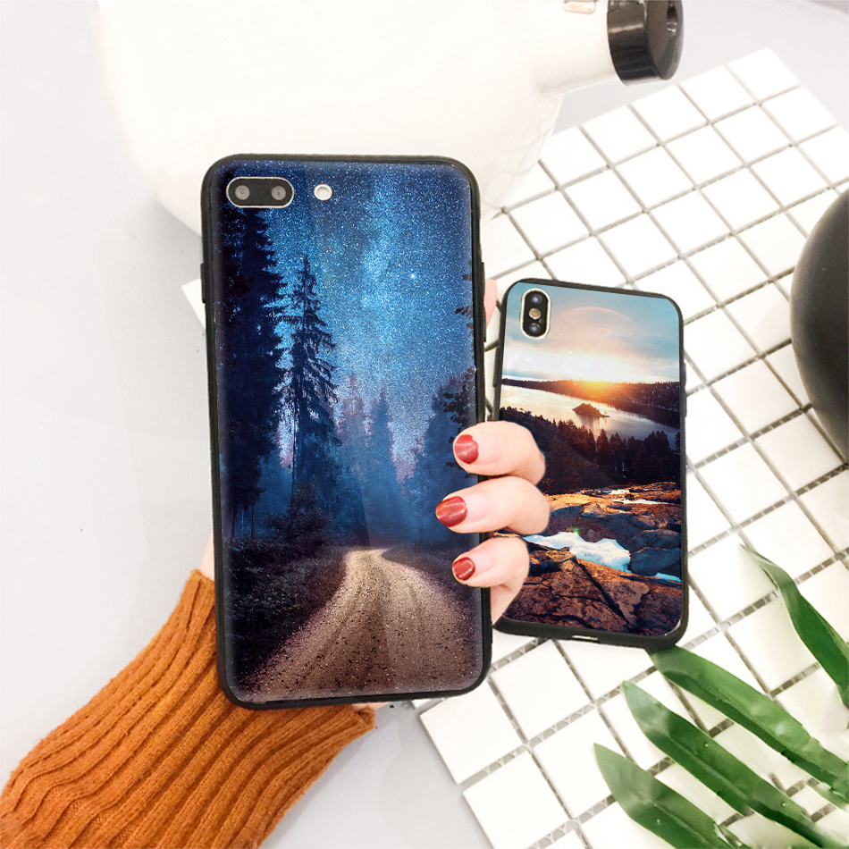 TOMKAS Star Sky Pattern Glass Case For iPhone X 7 8 6 6 s Cover Phone Cases For iPhone 7 8 6 6s Plus X Case Silione TPU PC Coque (18)