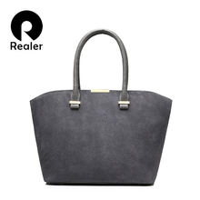 REALER brand fashion women handbag high quality artificial nubuck leather tote bags casual large women messenger bags Gray Brown