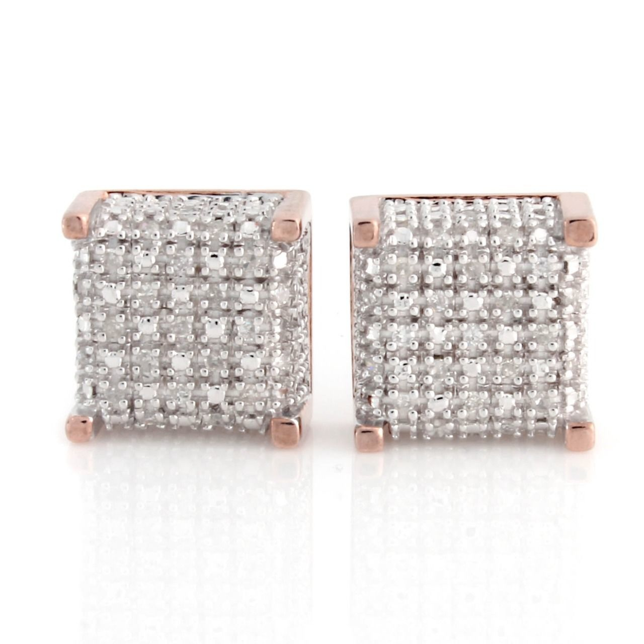 18K Rose Gold Over Sterling Silver 0.20 ct Natural Diamond Stud Earrings Q541