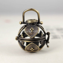 Antique Bronze tone Brushed Brass Wish Prayer Box Hollow Filigree Heart Locket Cage Pendant Essential Oil Aromatherapy Diffuser(China)