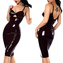 Shiny Sexy Catwomen Party Fancy Dress COSTUME Wet Look Black PVC Clubwear faux Leather Dresses