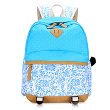 blue sky ladies printing backpack  women travel bags canvas rucksack black flower backpacks for teenage girls laptop bag