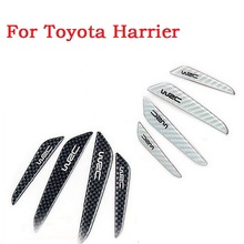 4PCS Carbon Fiber Auto side door bumper edge protector trim Car styling for Toyota Harrier