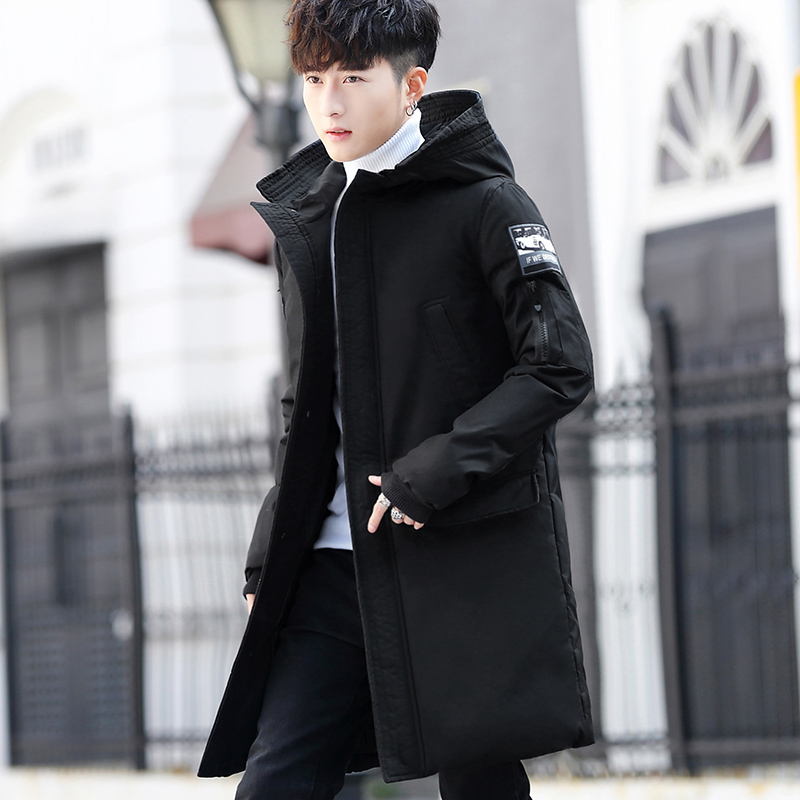 Long style male hooded down jacket iwinter man korean cotton-padded clothes with thick coat 70% white duck down coat