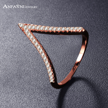 ANFASNI Fashion Rose Gold Plating Two-Tone V Shape Design Jewelry Ring For Women with Micro Pave Setting Cubic Zirconia CRI1039