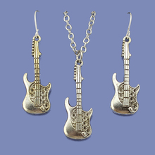 "Fashion Vintage Silver Tone Charm Guitar Women Jewelry Set Earring Pendant Short Necklace 18"" Kids Girls Gift Wholesale Lot DY68"