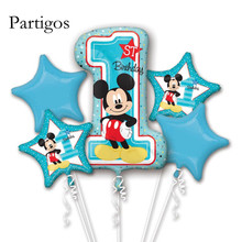 5pcs Baby Shower Number 1 Balloon Mickey Helium Foil Balloons Baby 1st Happy Birthday Party Decorations Supplies Air blue Globos
