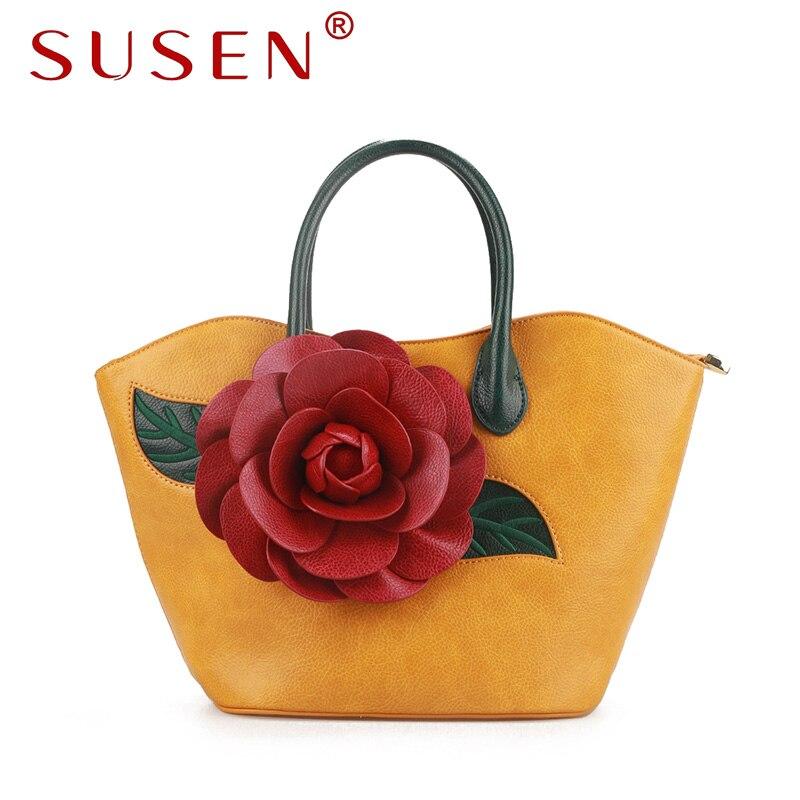 SUSEN 8206 New Women Handle Shoulder Bag Fashion Tote Bag Red Flower Appliques large capacity portable Bright Color Handbag<br>