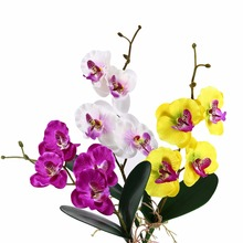 Artificial Flowers Orchid Silk Flowers Butterfly Fake Flowers Artificial Orchid Green Leaves Plants DIY Home Wedding Decorative