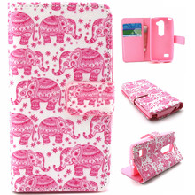 Pink Elephant Pink Bear Hot Stand Card Holder Wallet Leather Book Case For LG Leon C40 4G LTE H340N H324 free shipping
