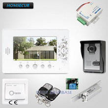 "HOMSECUR Waterproof 7"" Wired Video Door Intercom Set With Strike Lock Supported for Home Security(China)"