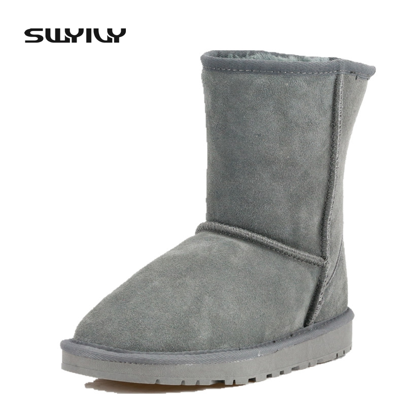 Women Winter Boots Snow Boots Short Winter Ankle Boots Genuine Leather Shoes Plush Warm Botas Femininas Plus Size 40-45<br>
