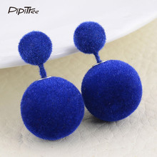 2017 NEW Fashion Luxury Brand Women Earrings Winter Sweet Candy Color Fur Ball Two Sided Simulated Pearl Earrings Female Jewelry(China)