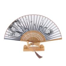 Silk Brown keel lotus Blossom Hand Fan Folding Purse Pocket Fan Wedding Party Favors Decorations Wedding Supplies Chinese Gifts