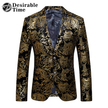 Gold Blazer Men Floral Casual Slim Blazers 2017 New Arrival Fashion Party Single Breasted Men Suit Jacket Plus Size M-6XL XF06(China)