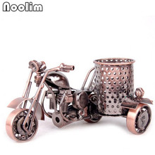 NOOLIM Metal Motorcycle Model Retro Motorbike Model Pencil Cup Antique Motor Bicycle Pen Container Holder Home Office Decor