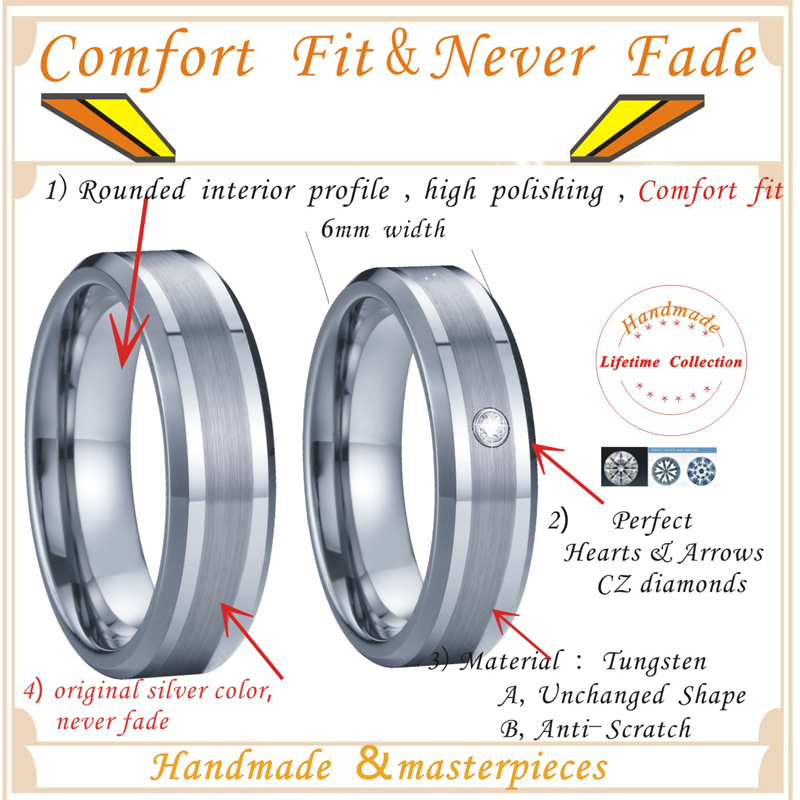 Handmade Tungsten Rings Silver Color Wedding Band Men's Rings Women's Ring For couples lovers  Alliance never fade (4)