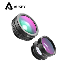 AUKEY Mini Clip-on Optic Cell Phone Camera Lens Kit 180 Degree Fisheye Lens + 110 Degree Wide Angle + 10x Macro Lens for Phones