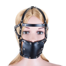 Buy Bondage PU Leather Head Harness Open Mouth Gag Hollow Ball Mouth Gag Fetish Harness Head Oral Fixation Adult Game Sex Toys