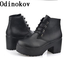 Odinokov New Fashion Black&White  Women Platform Heels Ankle Boots Thick Heel Platform Shoes Combat Boots