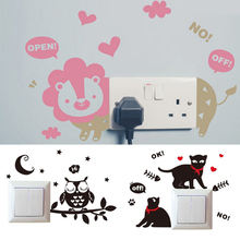 Switch Sticker Cartoon Animal Wall Stickers Decor Light Switch Cover Stickers