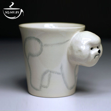 2016 New Arrival High Quality 3D Solid Animal Cup Bichon Hand-painted Ceramic Coffee Tea Milk Mug Creative Cute Birthday Gift(China)