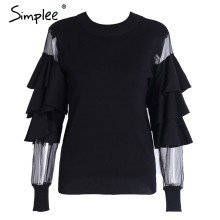 Simplee Transparent mesh white knitting pullover female Fluffy sweater women jumper Fashion long sleeve pull femme knit shirt