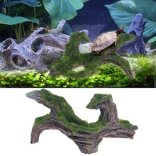 Fish Tank Aquarium Ornament Decoration Resin Artificial Green Driftwood Tree Landscaping With Moss Pet Climbing Rockery