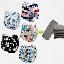 printing polyester fabric and pul baby nappies 5pcs reusable baby With 5pcs 4-Layer Bamboo Charcoal Inserts(5sets)