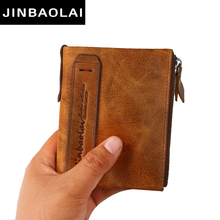 JINBAOLAI Genuine Cowhide Leather Men Wallet Short Coin Purse Small Vintage Wallets Brand High Quality Designer Wallet Purses