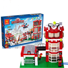 638pcs WANGE city fire emergency rescue Fire engines Helicopters Building Blocks Bricks Toys For Children Birhthday Gift toys