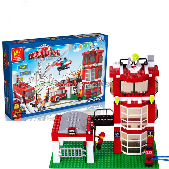 638pcs WANGE city fire emergency rescue Fire engines Helicopters Building Blocks Bricks Toys For Children Birhthday Gift toys(China (Mainland))