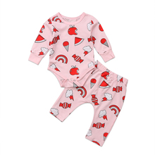 Newborn Baby Girls Long Sleeve Top Romper Jumpsuit Pants Outfits Set Clothes Adorable Baby Fashion Sweety Candies Clothing Set(China)