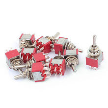 AC 125V 6A DPDT ON-ON 2 Positions 6-Pin Latching Miniature Toggle Switch 10 Pcs