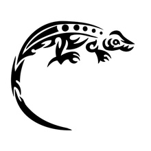 13.2cm*11.7cm Tribal Tattoo Lizard Cartoon Car-Styling Vinyl Stickers Black/Silver S3-5252(China)