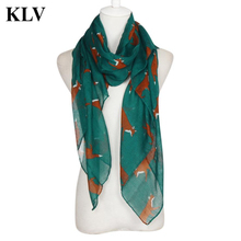 Hot Sale Elegant Women Cute Fox Printed Soft Voile Long Wrap Spring Autumn Scarf Girls Shawl Fashion Lady Scarves Pashmina Aug24