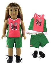 "[AM146]2017 New 18 Inch American Girl Doll Clothes # Green Basketball Top, Pant and shoes Set for 18"" Amrican Girl Doll outfits(China)"