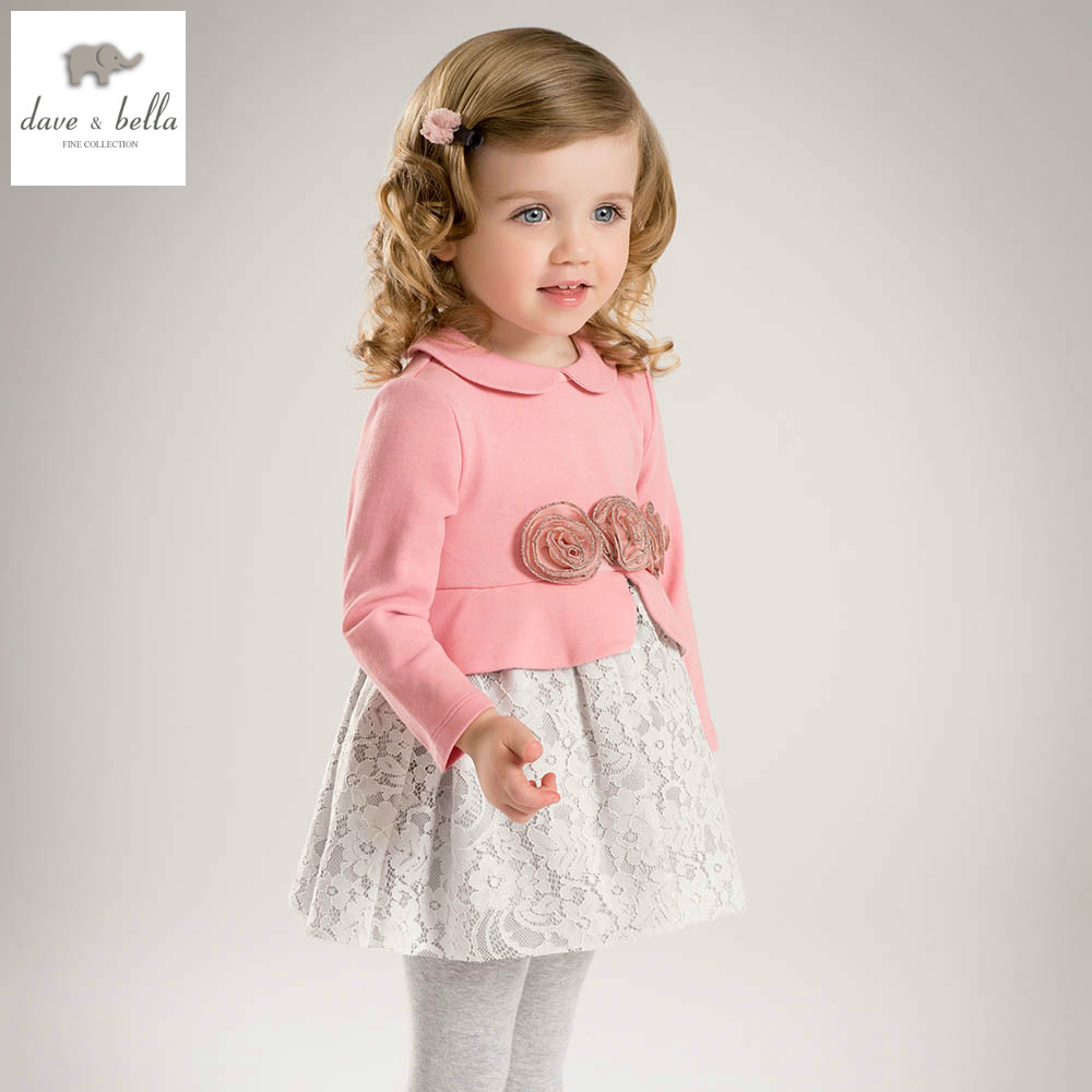 DB5146 dave bella spring baby princess dress girls lace dress  kids botuique fancy dress fancy stylish clothes<br>