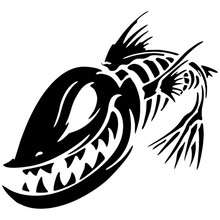 15.2*13.9CM Fish Skeleton Skull Fishing Monster Car Window Vinyl Decal Sticker Funny Motorcycle Stickers YH-033