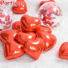 10pcs/lot Red Heart Foil Balloons inflatable love air Balls wedding classic toys Birthday Decoration Valentine's Day Party(China)