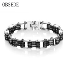 OBSEDE Punk Men's Motor Biker Bicycle Chain Motorcycle Chain Bracelet for Men 316L Stainless Steel Bangle Jewelry with Silicone