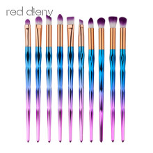Rainbow 10 Pcs Professional Makeup Brushes Set Beauty Cosmetic Eyeshadow Lip Powder Face Pinceis Tools Kabuki Brush Kits(China)
