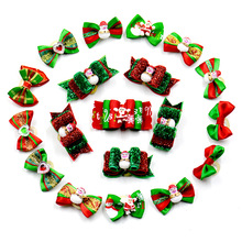 20pcs/50pcs/100pcs Handmade Christmas Dogs Grooming Bow Pet Hair Bow Pet Rubber Bands Dog Show Supplies(China)
