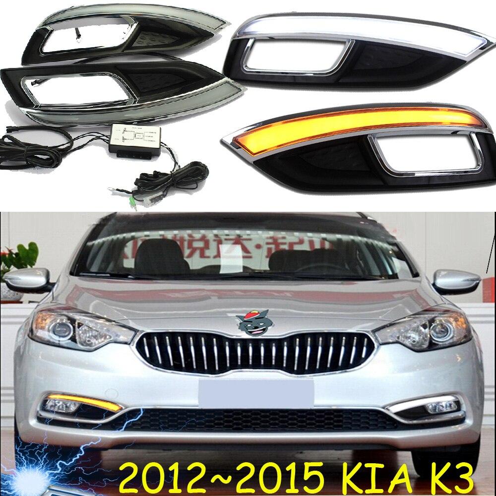 Car-styling,KlA K3 daytime light,2012~2015,chrome,LED,Free ship!2pcs,KlA K3S fog light,car-covers,K3 S,Cerato,Forte<br>