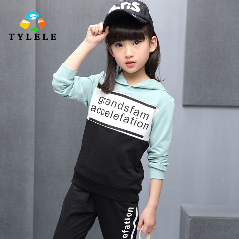 New Arrivals 2017 Spring Girls Clothing Sets Fashion Long Sleeve Sweatshirts + Pants Children Kids Clothes 2pcs Children Costume<br>
