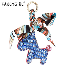 Exquisite Leather Horse Keychain For Women Crystal Horse Bag Pendant Kay Chain Ladies Ribbon Key Ring Women Key Accessories