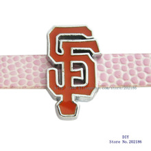Free shipping 50pcs 8mm SL0298 San Francisco 49ers silde charms fit for wristband/belt/pet collar SL192(China)