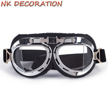 NK DECORATION Universal Vintage Biker Motorcycle Goggles Glasses For Motocross Goggles For Harley KTM For Cosplay Party Masks(China)